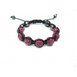 Dark Pink Fuchsia Crystal Ball Shamballa Bracelets Adult