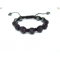 Dark Purple Crystal Ball Shamballa Bracelets Adult