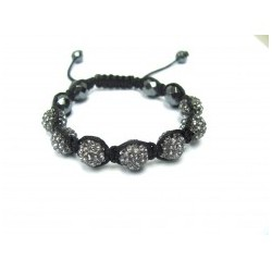 Grey Gunmetal Crystal Ball Shamballa Bracelets Adult