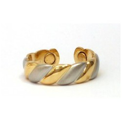 Weave Design Silver & Gold Finished Copper Ring