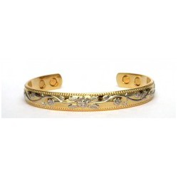 Chain Link Design Silver & Gold Finished Copper Bangle