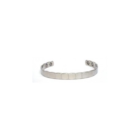 Square Patch Design Silver Finished Copper Bangle
