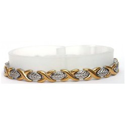 Abstract Leaf Matt Silver & Gold Stainless Steel Bracelet