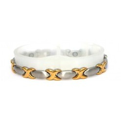 Oval Matt Silver & Shiny Gold Stainless Steel Bracelet