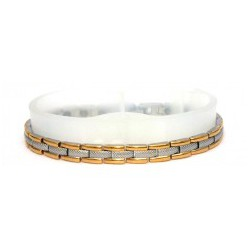 Engraved H Link Matt Silver & Gold Stainless Steel Bracelet