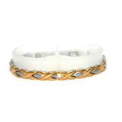 Eye Design Silver & Gold Stainless Steel Bracelet