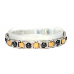Rolling Ball Hematite Silver & Gold Stainless Steel Bracelet