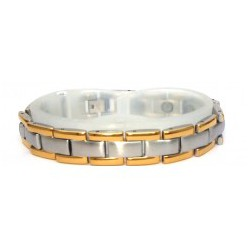 Traditional Link Matt Silver & Gold Stainless Steel Bracelet