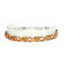 Heart Link Shiny & Matt Gold Stainless Steel Bracelet