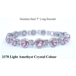 Light Amethyst Crystal Silver Stainless Steel Bracelet