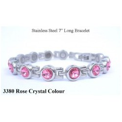 Rose Crystal Silver Stainless Steel Bracelet