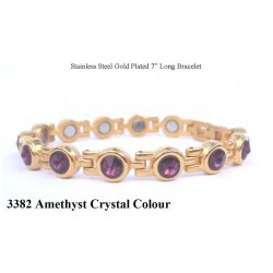 Amethyst Crystal Gold Stainless Steel Bracelet