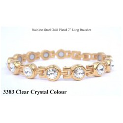 Clear Crystal Silver Stainless Steel Bracelet