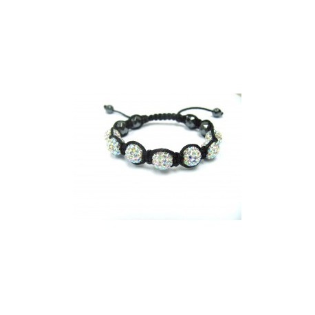 AB White Crystal Ball Shamballa Bracelets Adult