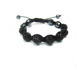 Black Crystal Shamballa Bracelets Adult