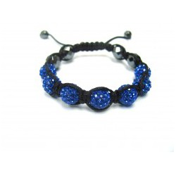 Dark Blue Crystal Ball Shamballa Bracelets Adult